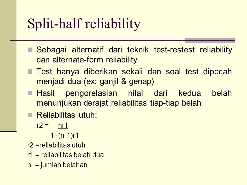Split-half reliability