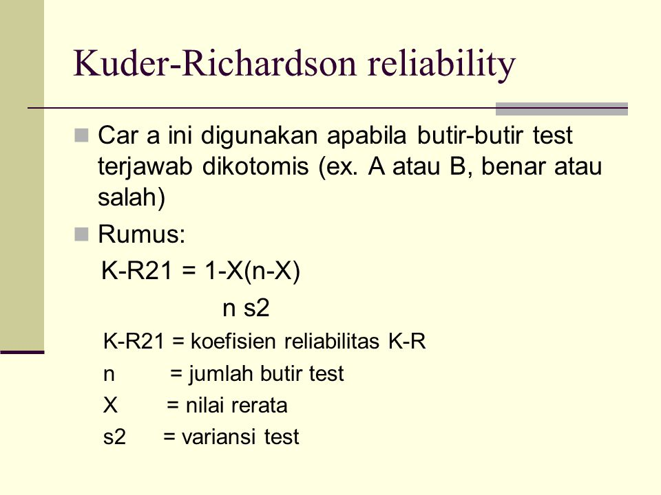 Kuder-Richardson reliability