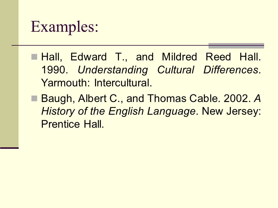 Examples: Hall, Edward T., and Mildred Reed Hall. 1990. Understanding Cultural Differences. Yarmouth: Intercultural.