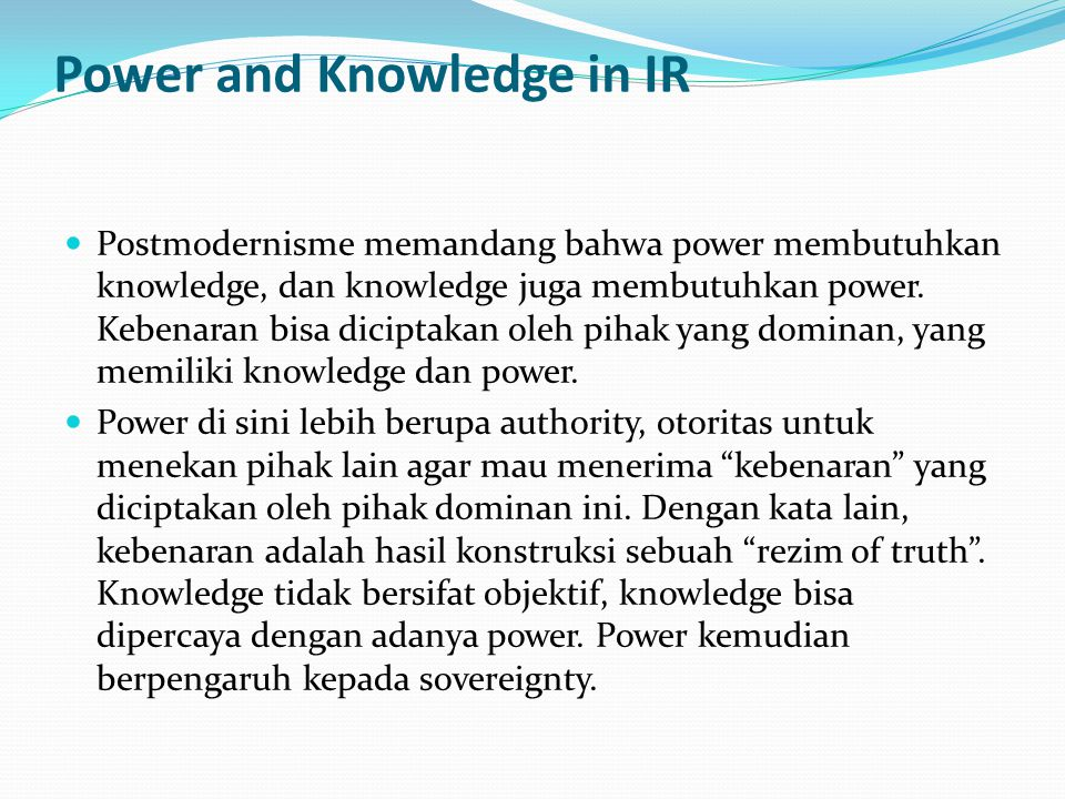 Power and Knowledge in IR