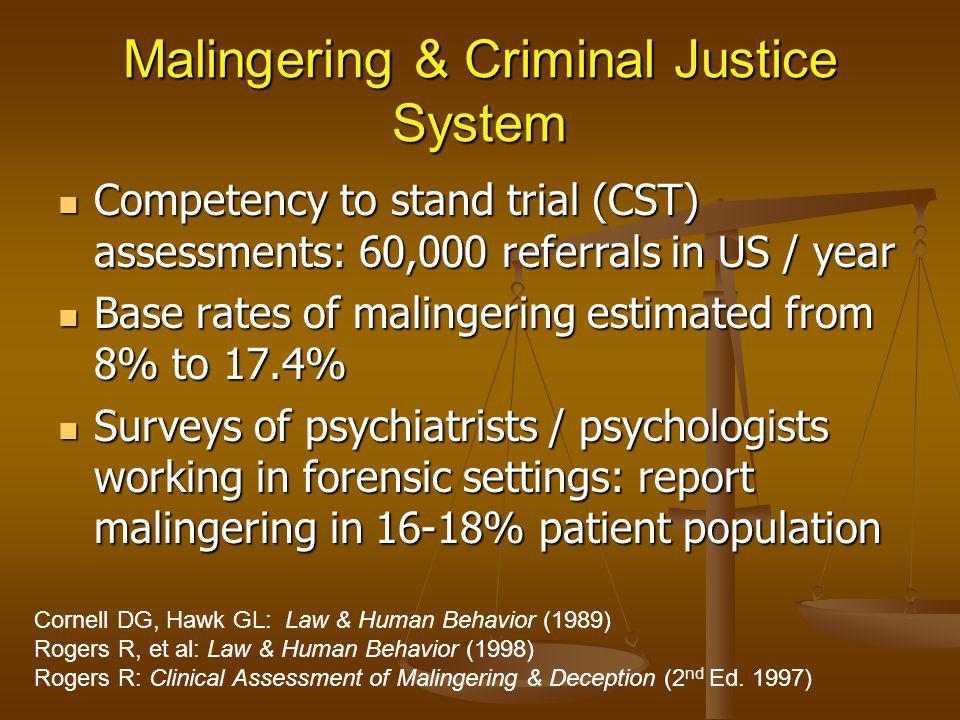 Malingering & Criminal Justice System