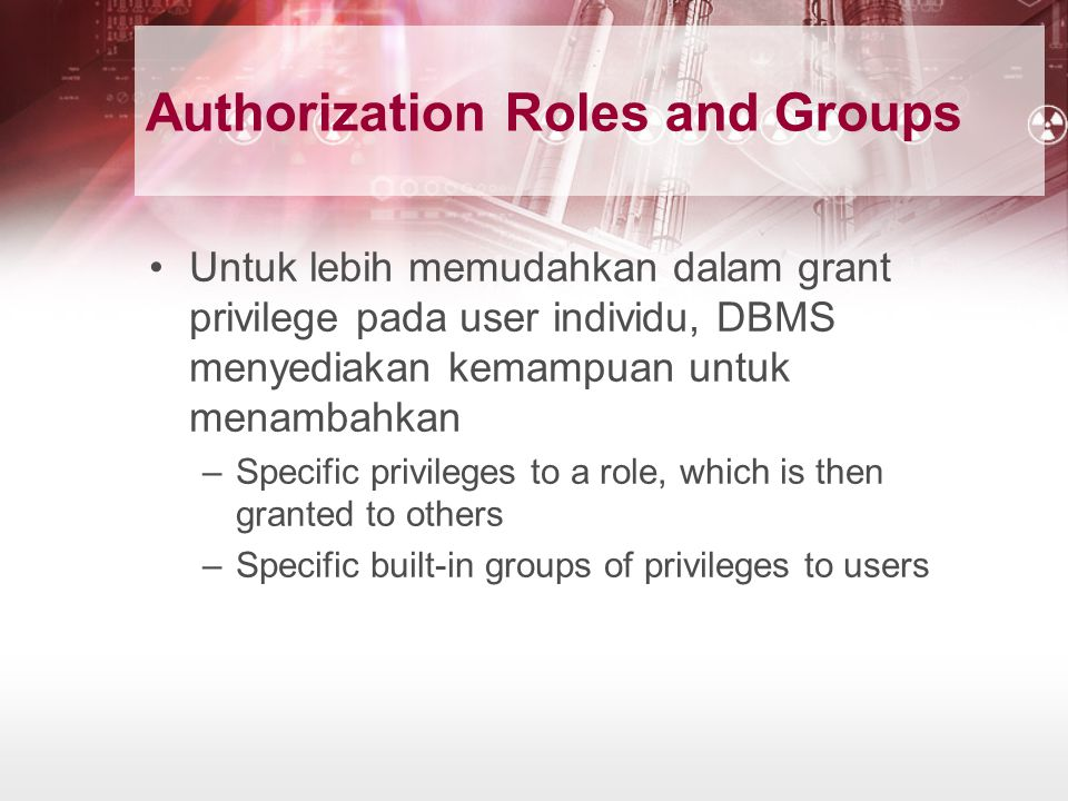 Authorization Roles and Groups