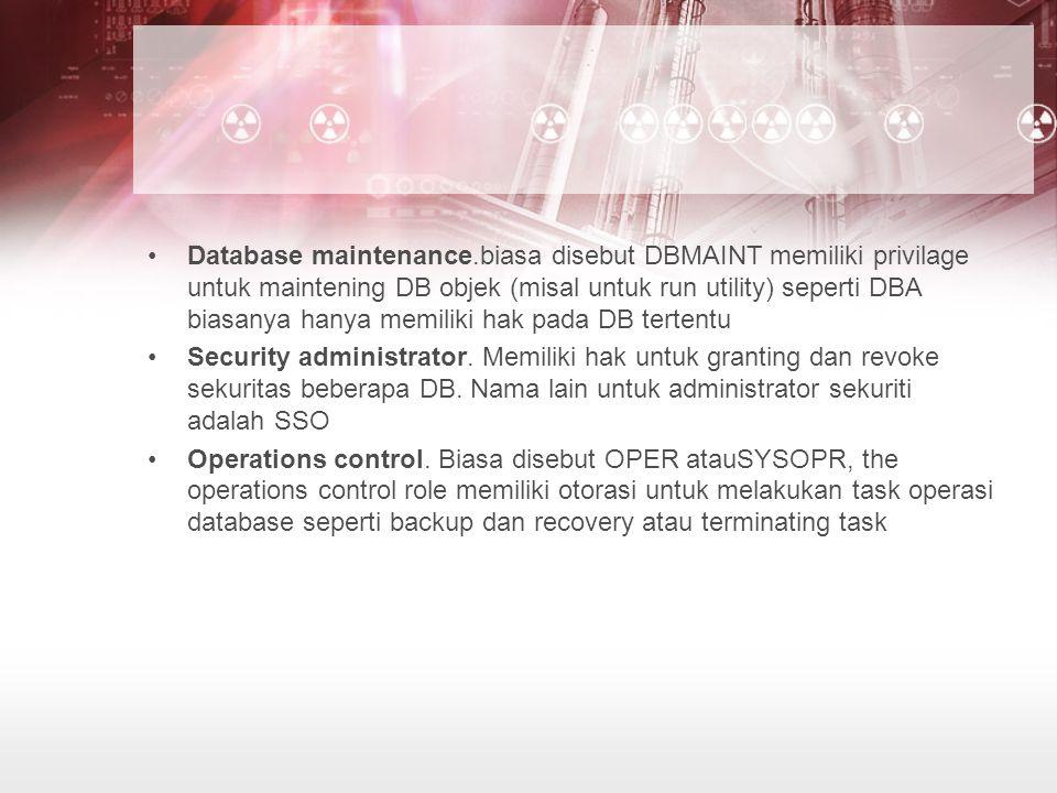 Database maintenance.biasa disebut DBMAINT memiliki privilage untuk maintening DB objek (misal untuk run utility) seperti DBA biasanya hanya memiliki hak pada DB tertentu