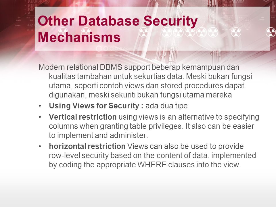 Other Database Security Mechanisms