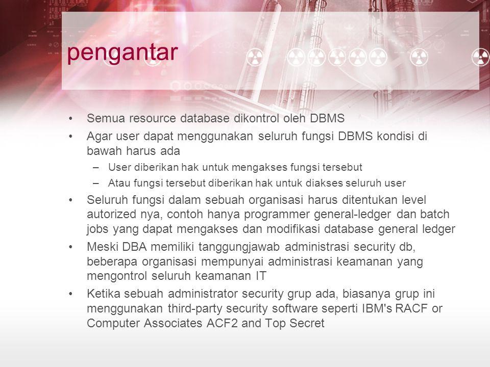 pengantar Semua resource database dikontrol oleh DBMS