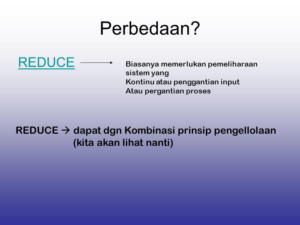 Perbedaan REDUCE REDUCE  dapat dgn Kombinasi prinsip pengellolaan
