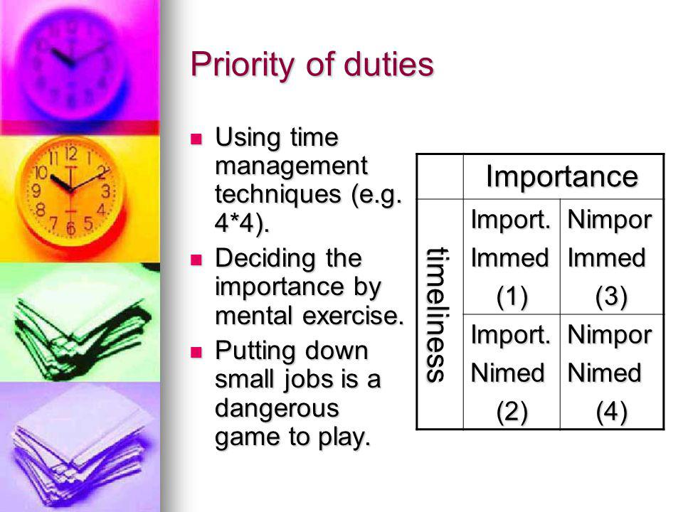 Priority of duties Importance timeliness