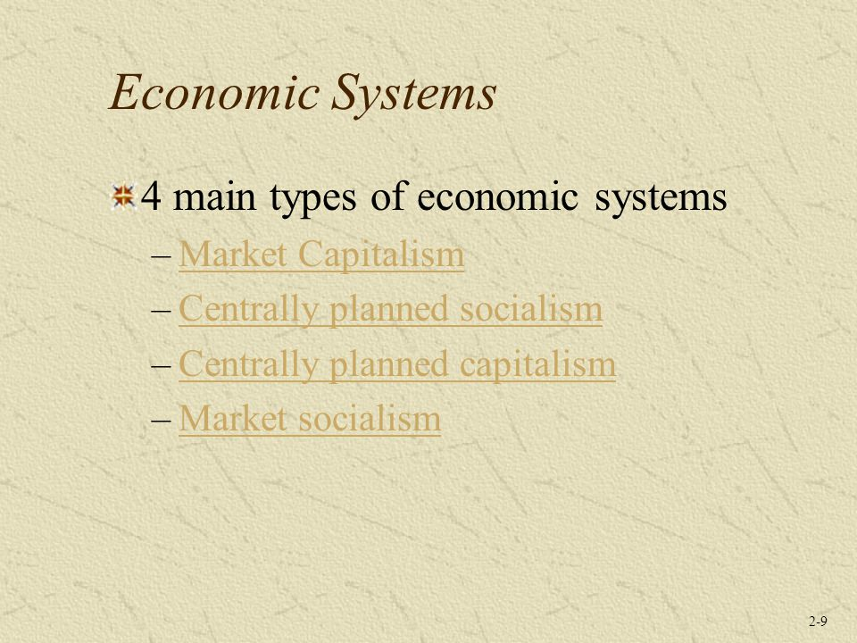 Economic Systems 4 main types of economic systems Market Capitalism