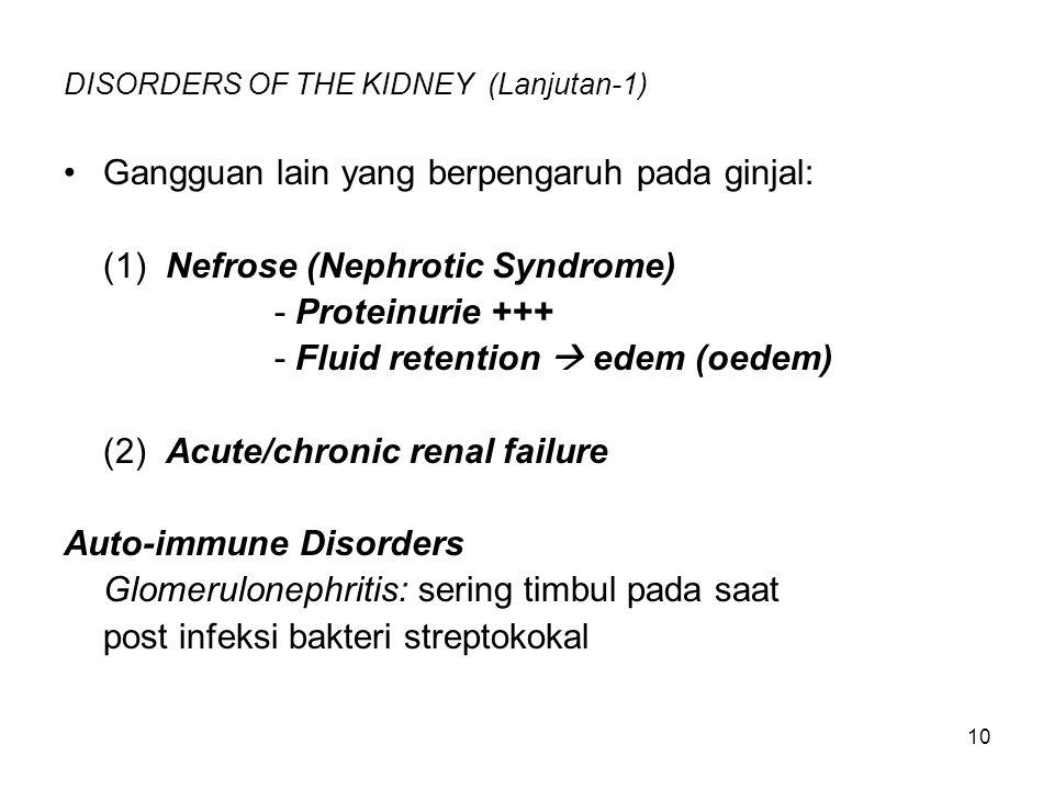 DISORDERS OF THE KIDNEY (Lanjutan-1)