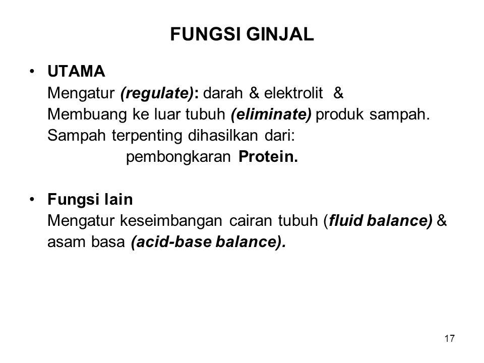 FUNGSI GINJAL UTAMA Mengatur (regulate): darah & elektrolit &