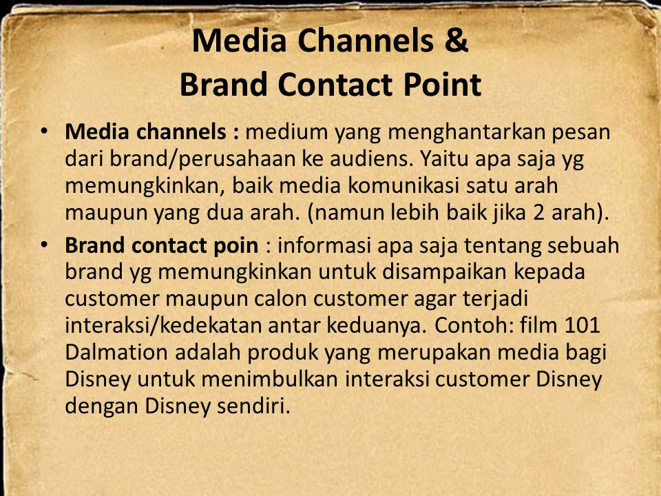 Media Channels & Brand Contact Point