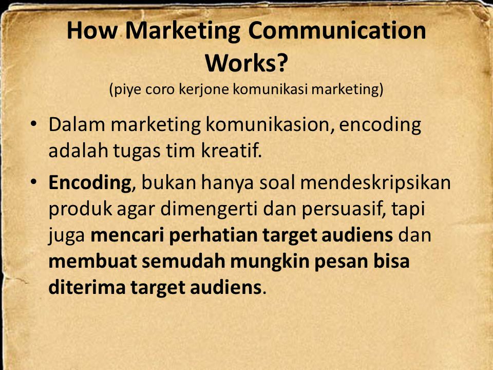 How Marketing Communication Works