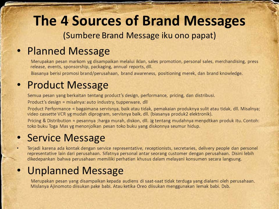 The 4 Sources of Brand Messages (Sumbere Brand Message iku ono papat)