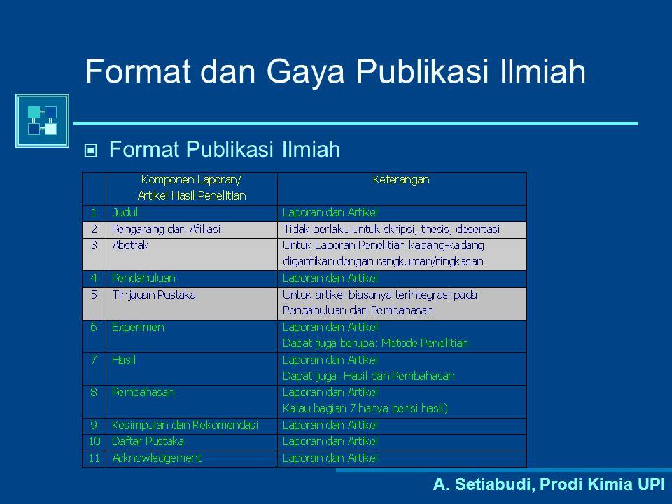 Format dan Gaya Publikasi Ilmiah