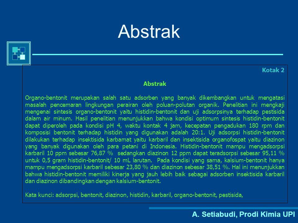 Abstrak A. Setiabudi, Prodi Kimia UPI Kotak 2 Abstrak