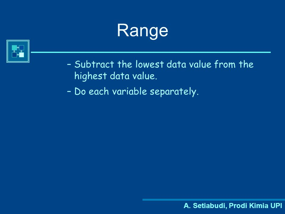 Range Subtract the lowest data value from the highest data value.