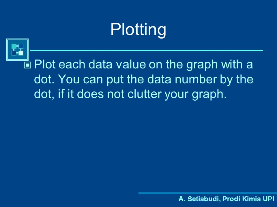 Plotting Plot each data value on the graph with a dot. You can put the data number by the dot, if it does not clutter your graph.