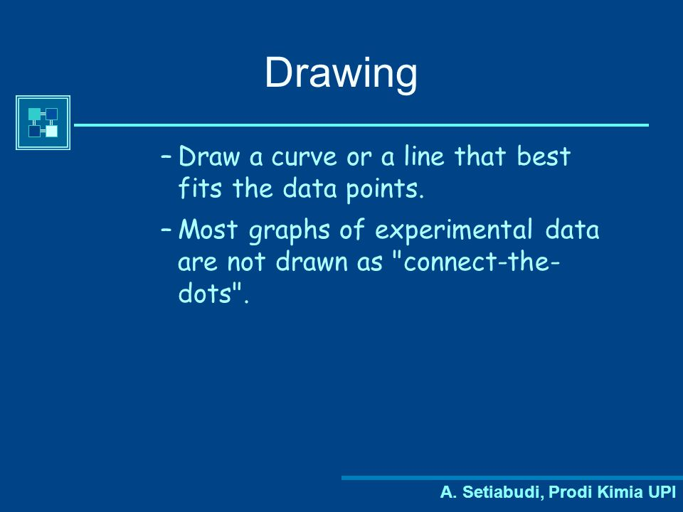 Drawing Draw a curve or a line that best fits the data points.