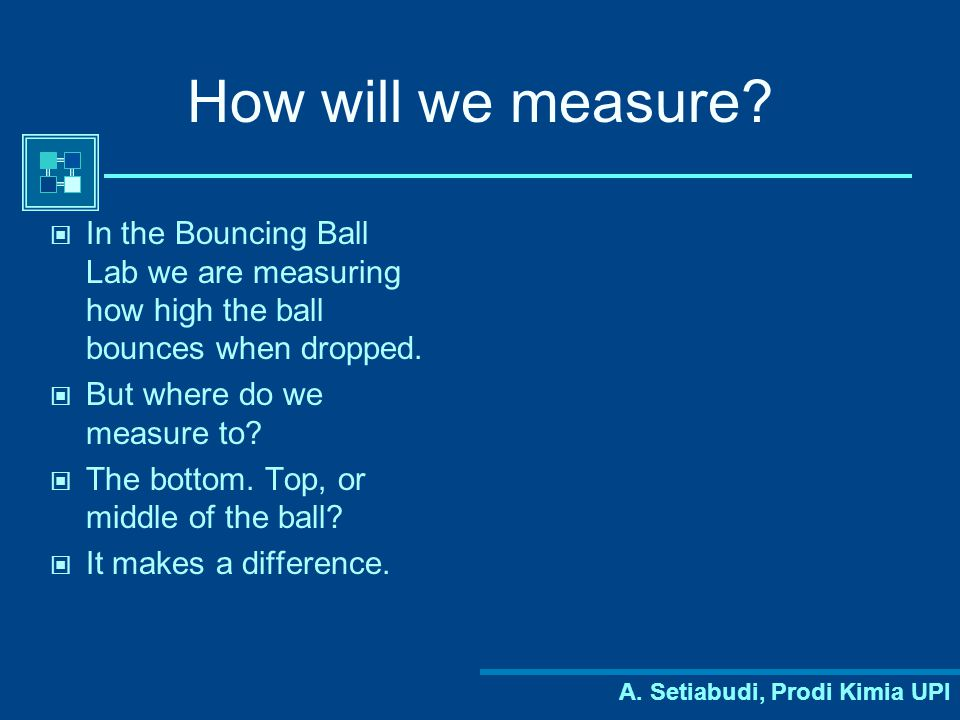 How will we measure In the Bouncing Ball Lab we are measuring how high the ball bounces when dropped.