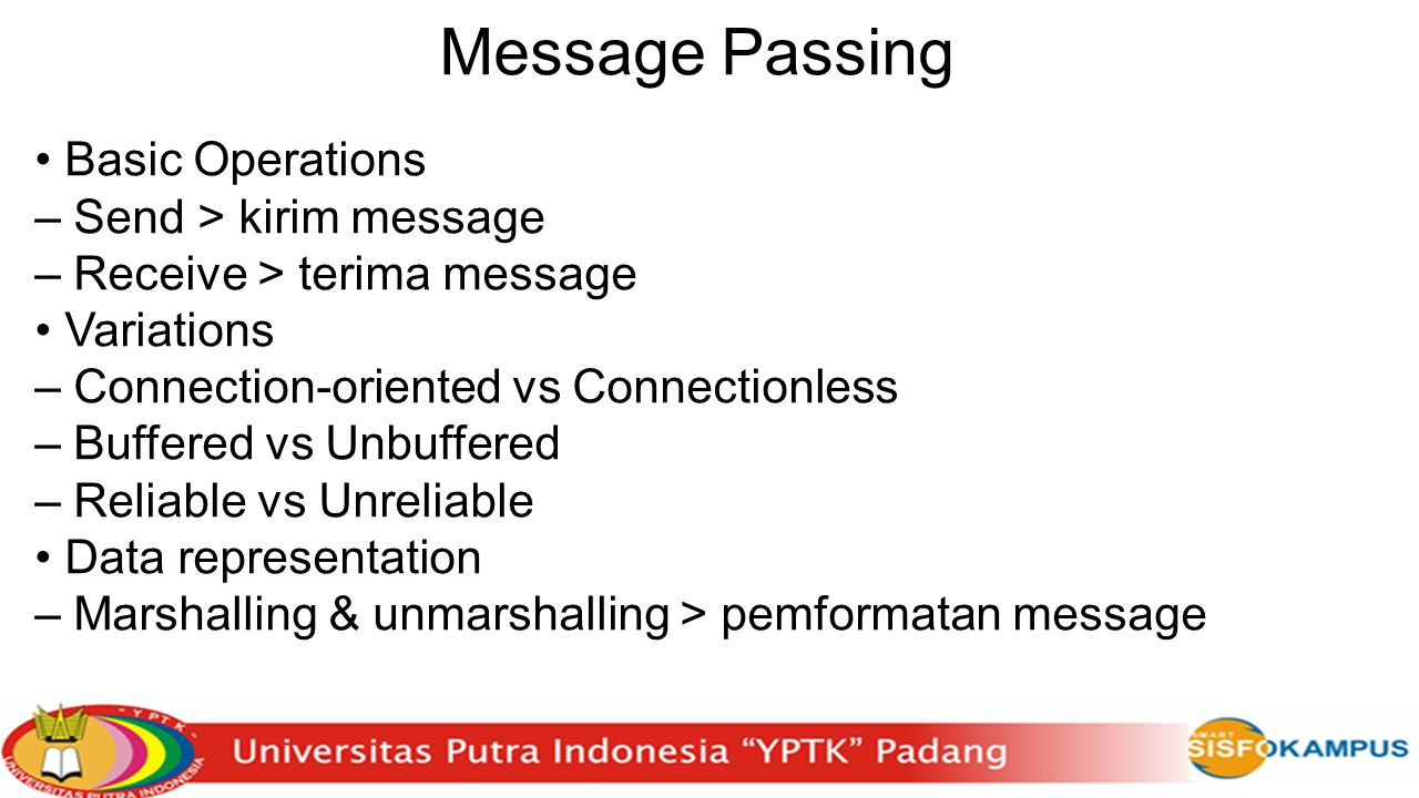 Message Passing • Basic Operations – Send > kirim message