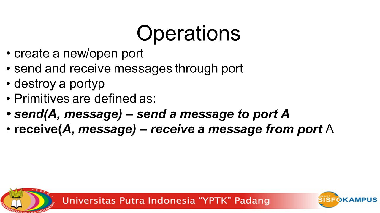 Operations • create a new/open port
