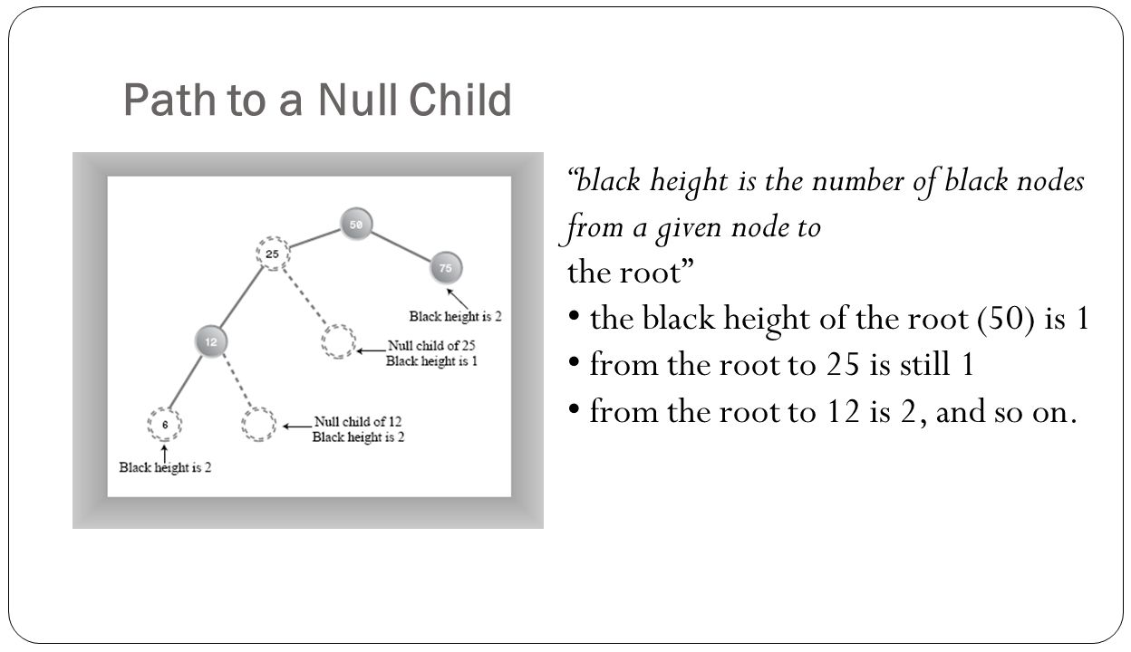 Path to a Null Child black height is the number of black nodes from a given node to. the root the black height of the root (50) is 1.