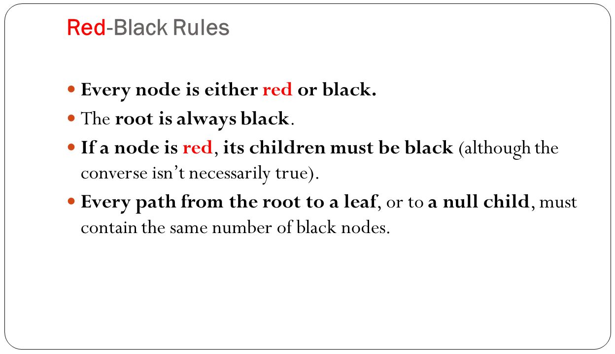 Red-Black Rules Every node is either red or black.