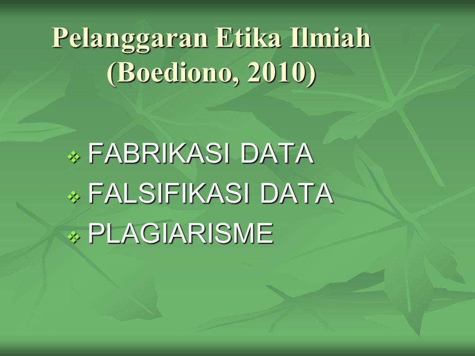 Pelanggaran Etika Ilmiah (Boediono, 2010)