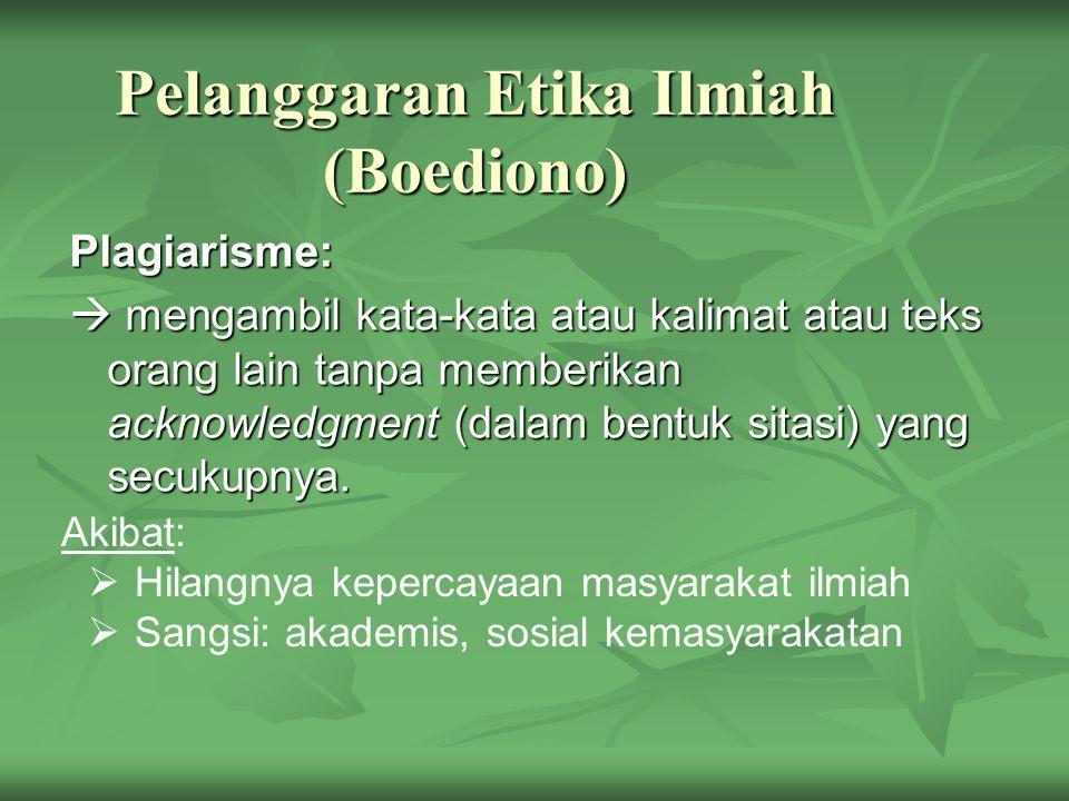 Pelanggaran Etika Ilmiah (Boediono)