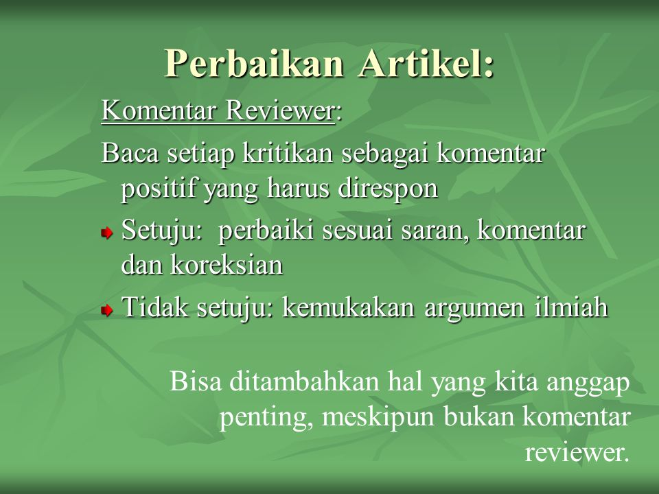 Perbaikan Artikel: Komentar Reviewer: