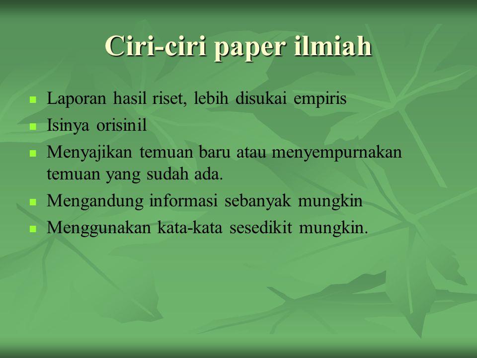 Ciri-ciri paper ilmiah