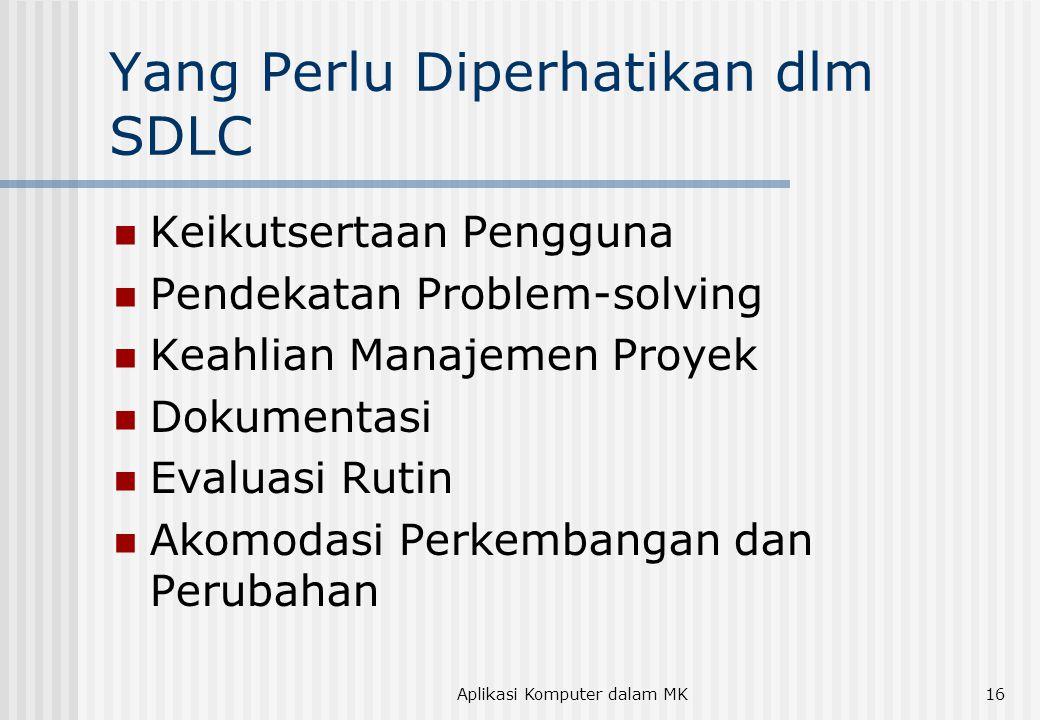 Yang Perlu Diperhatikan dlm SDLC