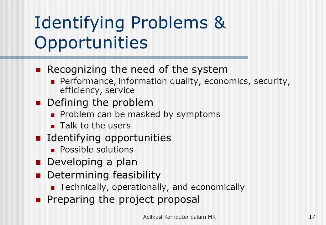 Identifying Problems & Opportunities