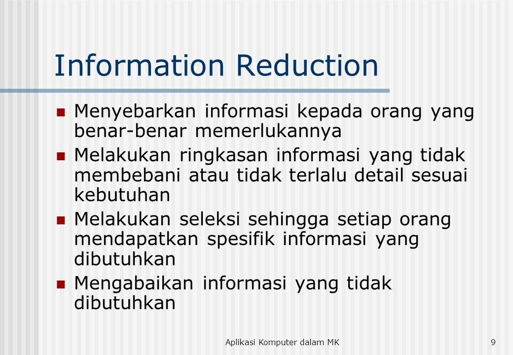 Information Reduction