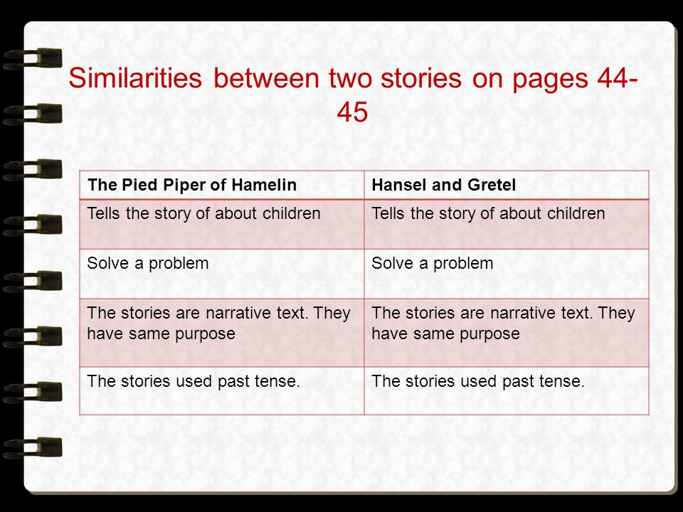 Similarities between two stories on pages 44-45