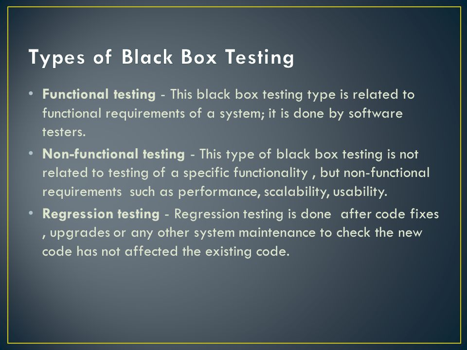 Types of Black Box Testing