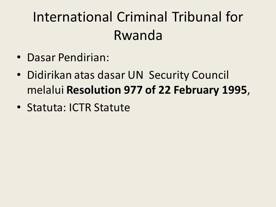 International Criminal Tribunal for Rwanda