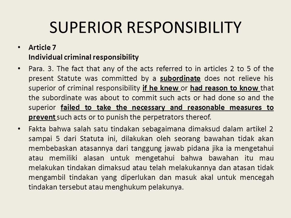 SUPERIOR RESPONSIBILITY