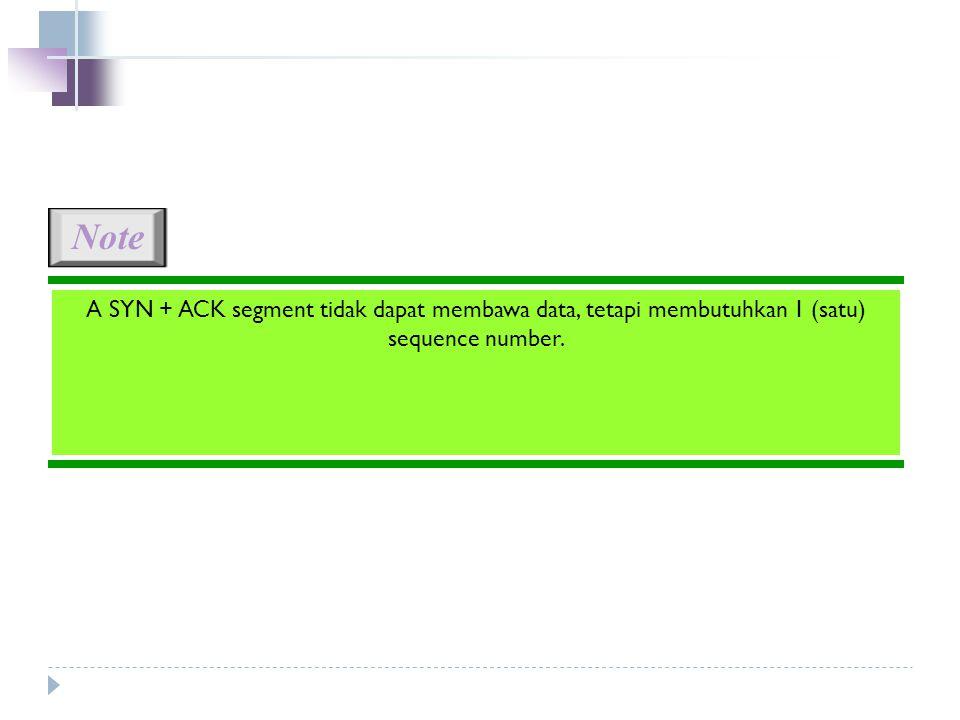 Note A SYN + ACK segment tidak dapat membawa data, tetapi membutuhkan 1 (satu) sequence number.