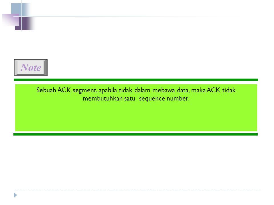 Note Sebuah ACK segment, apabila tidak dalam mebawa data, maka ACK tidak membutuhkan satu sequence number.
