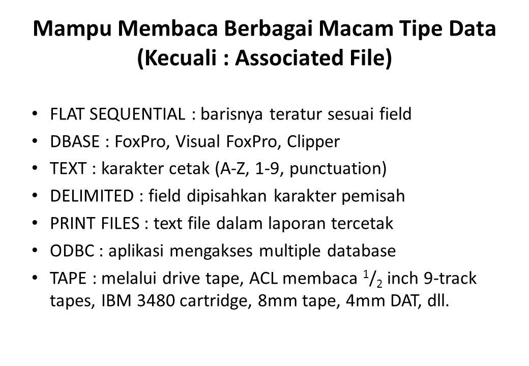 Mampu Membaca Berbagai Macam Tipe Data (Kecuali : Associated File)
