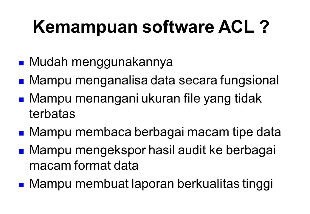 Kemampuan software ACL