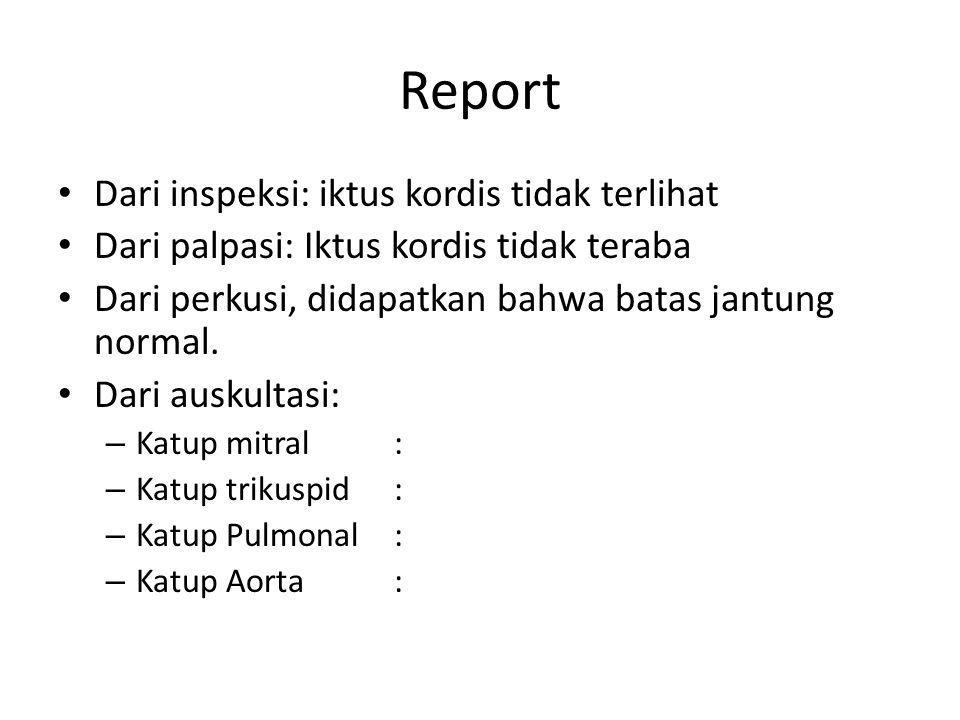 Report Dari inspeksi: iktus kordis tidak terlihat