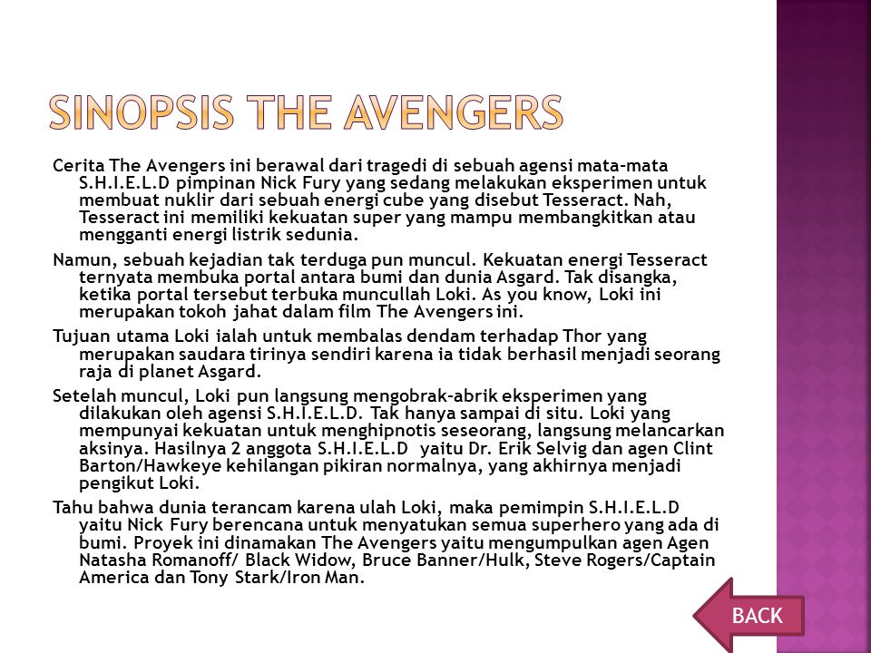 Sinopsis the avengers BACK
