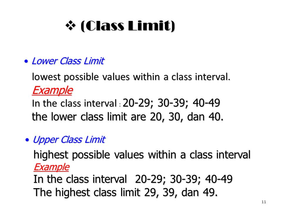 (Class Limit) lowest possible values within a class interval. Example