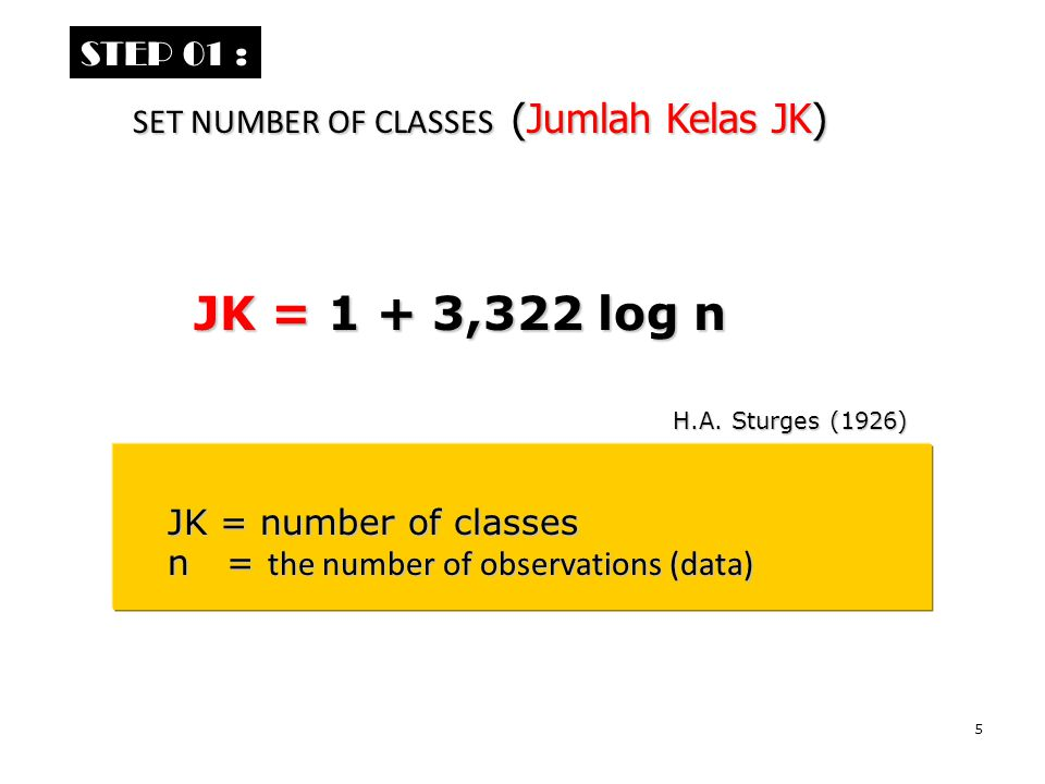 JK = 1 + 3,322 log n STEP 01 : SET NUMBER OF CLASSES (Jumlah Kelas JK)