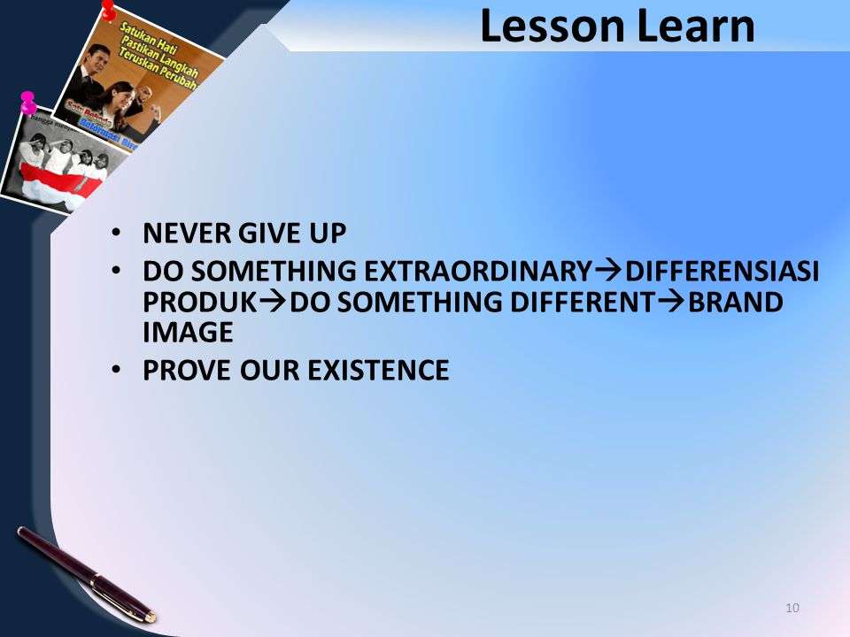 Lesson Learn NEVER GIVE UP