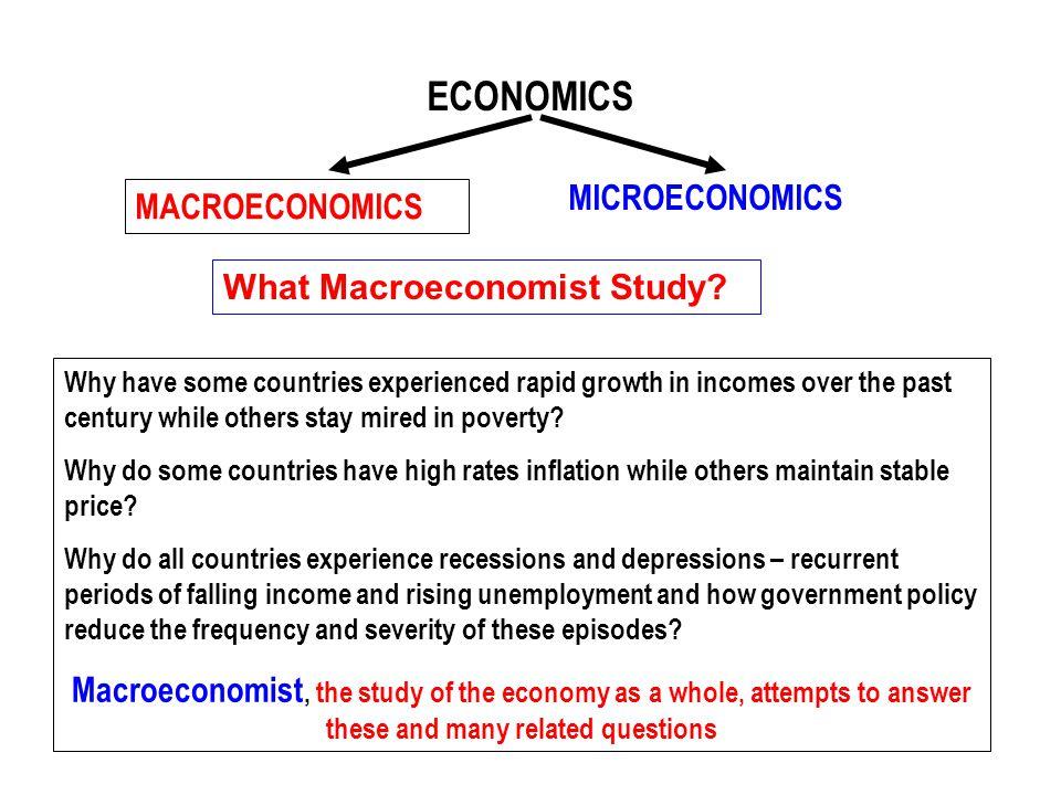 ECONOMICS MICROECONOMICS MACROECONOMICS What Macroeconomist Study