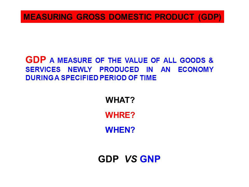 MEASURING GROSS DOMESTIC PRODUCT (GDP)