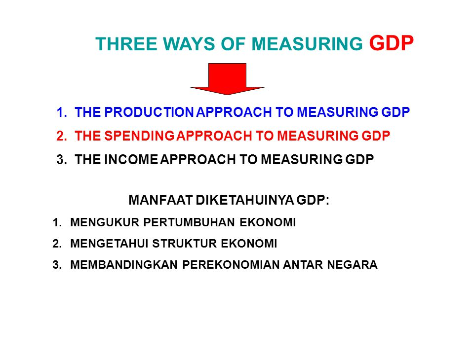 THREE WAYS OF MEASURING GDP MANFAAT DIKETAHUINYA GDP: